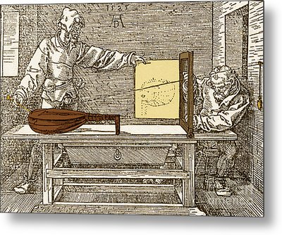 Durers Perspective Drawing Of A Lute Metal Print by Science Source