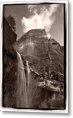 Emerald Pools Falls Zion National Park Metal Print by Steve Gadomski