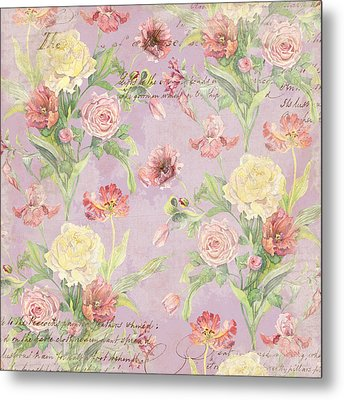 Fleurs De Pivoine - Watercolor In A French Vintage Wallpaper Style Metal Print by Audrey Jeanne Roberts