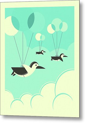 Flock Of Penguins Metal Print by Jazzberry Blue
