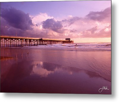Florida Gold Coast Pier Metal Print by Joshua Miller