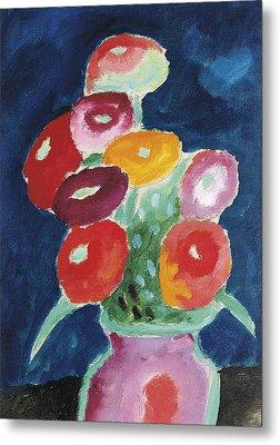 Flowers In A Vase Metal Print by Alexej von Jawlensky