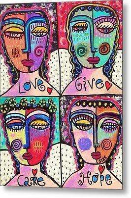 Four Gemstone Angels  Metal Print by Sandra Silberzweig