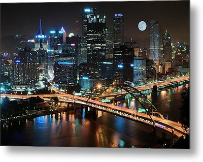Full Moon Over Pittsburgh Metal Print by Frozen in Time Fine Art Photography