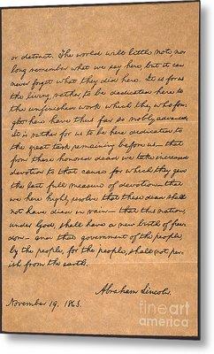 Gettysburg Address Metal Print by Granger