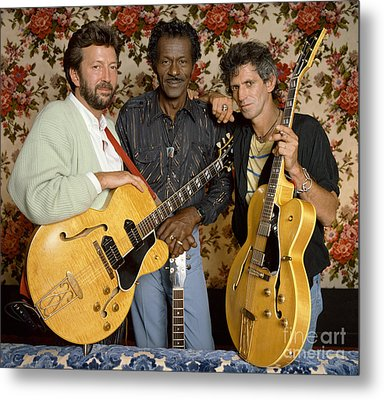 Guitar Legends Berry, Clapton Metal Print by Terry O'Neill