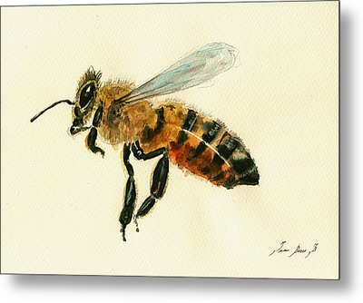 Honey Bee Watercolor Painting Metal Print by Juan  Bosco