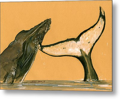 Humpback Whale Painting Metal Print by Juan  Bosco
