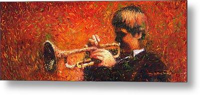 Jazz Trumpeter Metal Print by Yuriy  Shevchuk