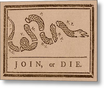 Join Or Die Metal Print by War Is Hell Store