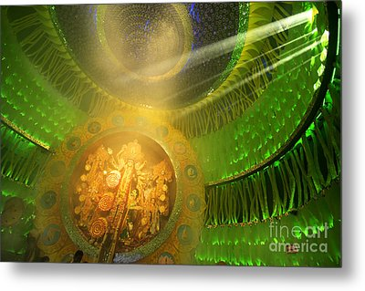 Kolkata India Durga Puja Festival Decorated Pandal Metal Print by Rudra Narayan Mitra