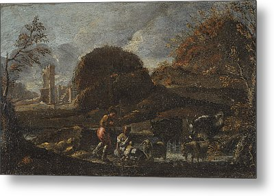 Landscape With Shepherds Near A River Metal Print by MotionAge Designs