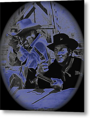 Leif Erickson And Cameron Mitchell  The High Chaparral Old Tucson Arizona 1969 Metal Print by David Lee Guss