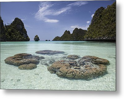 Limestone Islands Surround Corals Metal Print by Ethan Daniels