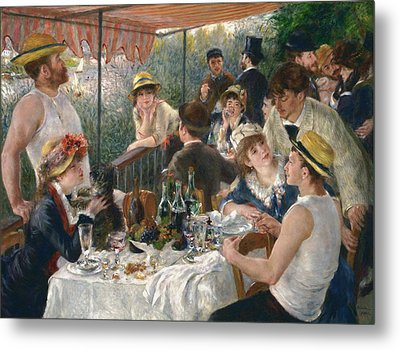 Luncheon Of The Boating Party Metal Print by Auguste Renoir