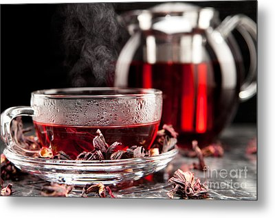 Mallow Tea In Glass With Dried Mallow Blossoms Metal Print by Wolfgang Steiner