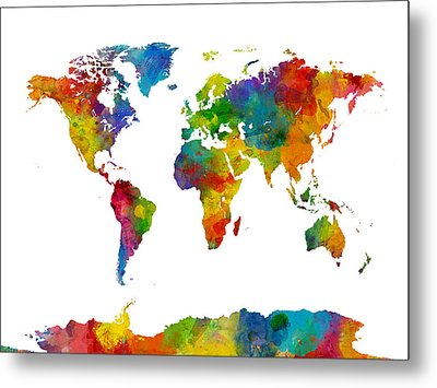 Map Of The World Map Watercolor Metal Print by Michael Tompsett