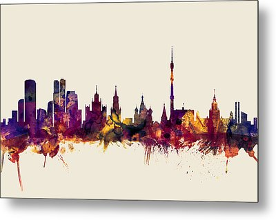 Moscow Russia Skyline Metal Print by Michael Tompsett