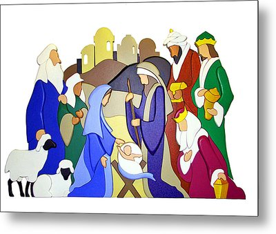 Nativity Scene Metal Print by Munir Alawi