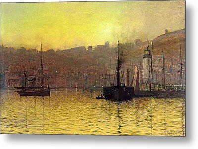 Nightfall In Scarborough Harbour Metal Print by John Atkinson Grimshaw