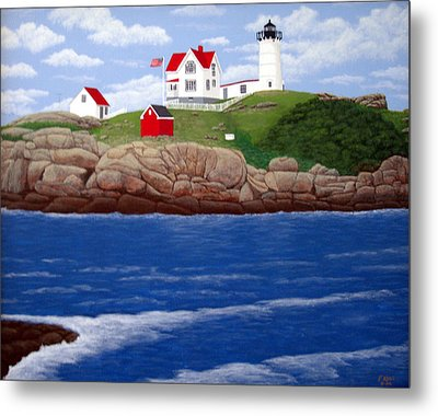 Nubble Lighthouse Metal Print by Frederic Kohli