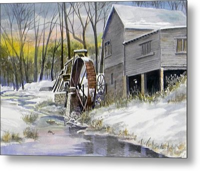 Old Mill In Winter Metal Print by Jack Bolin