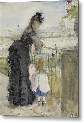 On The Balcony Metal Print by Berthe Morisot