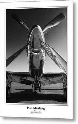 P-51 Mustang - Bordered Metal Print by John Hamlon
