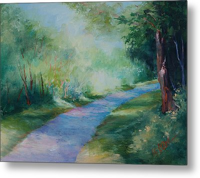 Path To The Pond Metal Print by Donna Pierce-Clark