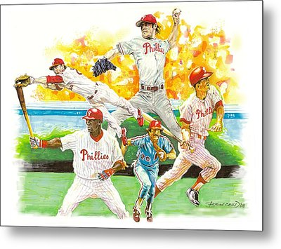 Phillies Through The Ages Metal Print by Brian Child