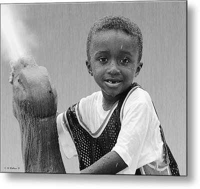 Philly Fountain Kid Metal Print by Brian Wallace