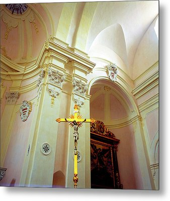 Pink Cathedral With Gold Cross Metal Print by Martin Sugg