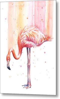 Pink Flamingo Watercolor Rain Metal Print by Olga Shvartsur