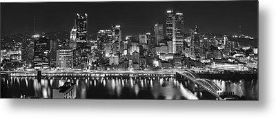 Pittsburgh Pennsylvania Skyline At Night Panorama Metal Print by Jon Holiday