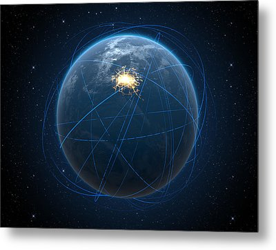 Planet With Illuminated City And Light Trails Metal Print by Allan Swart