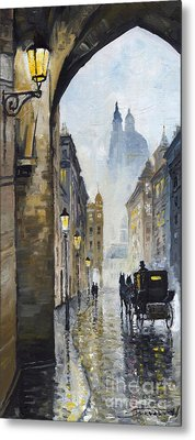 Prague Old Street 01 Metal Print by Yuriy  Shevchuk