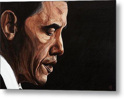 President Barack Obama Portrait Metal Print by Patty Vicknair