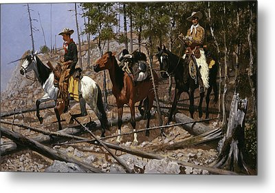 Prospecting For Cattle Range  Metal Print by Frederic Remington