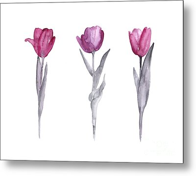 Purple Tulips Watercolor Painting Metal Print by Joanna Szmerdt