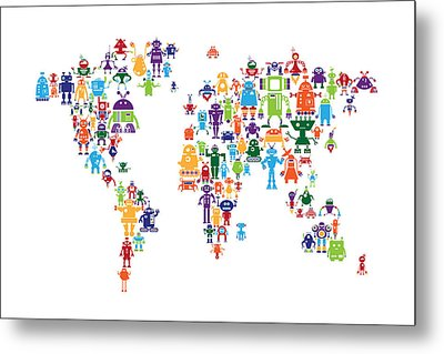 Robot Map Of The World Map Metal Print by Michael Tompsett