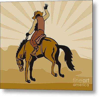 Rodeo Cowboy Bucking Bronco Metal Print by Aloysius Patrimonio