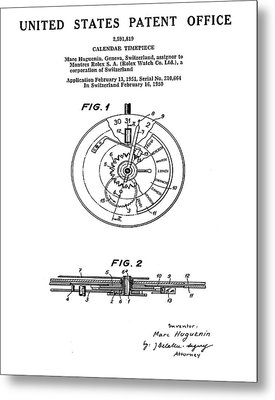 Rolex Watch Patent 1999 Metal Print by Bill Cannon