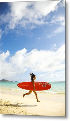 Running With Surfboard Metal Print by Dana Edmunds - Printscapes