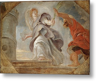 Saint Barbara Fleeing From Her Father Metal Print by Peter Paul Rubens