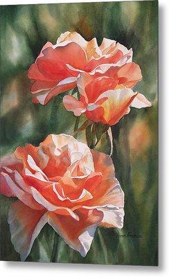 Salmon Colored Roses Metal Print by Sharon Freeman