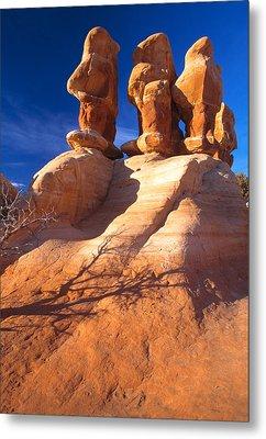 Sandstone Hoodoos In Utah Desert Metal Print by Utah Images