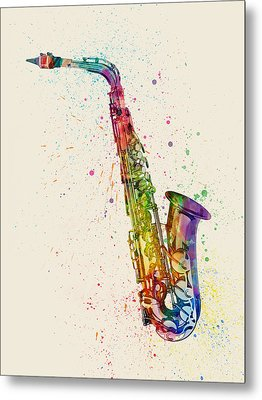 Saxophone Abstract Watercolor Metal Print by Michael Tompsett