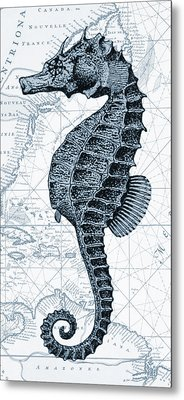 Sea Horse Nautical Chart Metal Print by Erin Cadigan