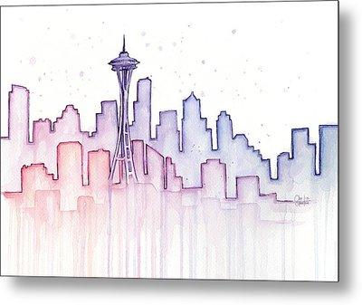 Seattle Skyline Watercolor Metal Print by Olga Shvartsur