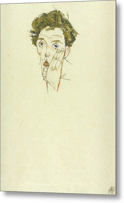 Self Portrait Metal Print by Egon Schiele